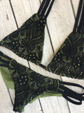 Braided Olive & Black Lace Set