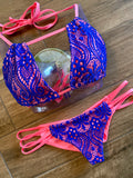 Elle Neon Coral & Blue Lace Bottom