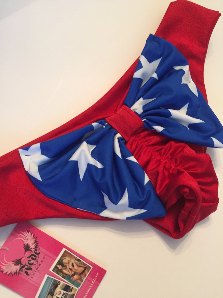 Patriotic Red & Stars Bali Bow Bottoms~Made to Order