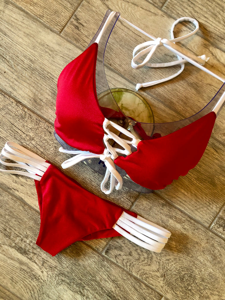 Red & White Natalie Top