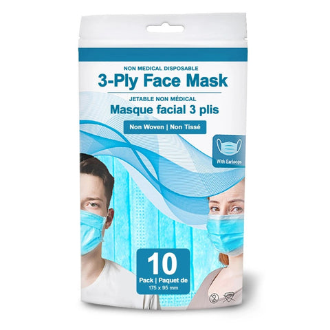 3-Ply Face Masks - 10 Pack
