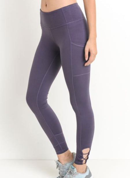 LEGGINGS | Criss Cross Pocket Adult | Dark Violet
