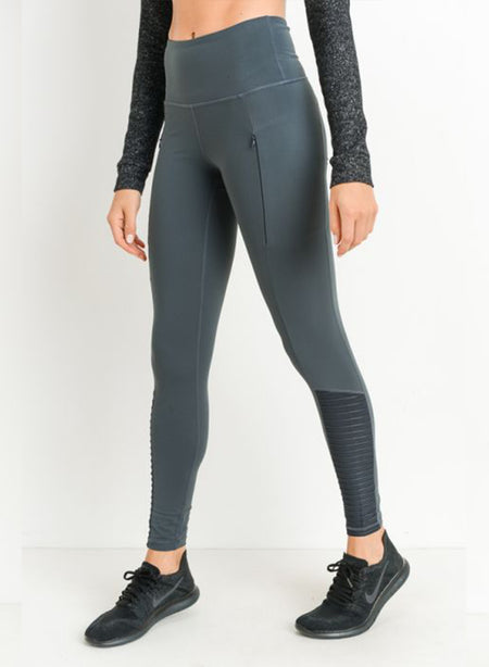 LEGGINGS | High Waisted Moto Mesh Adult Leggings | Pine