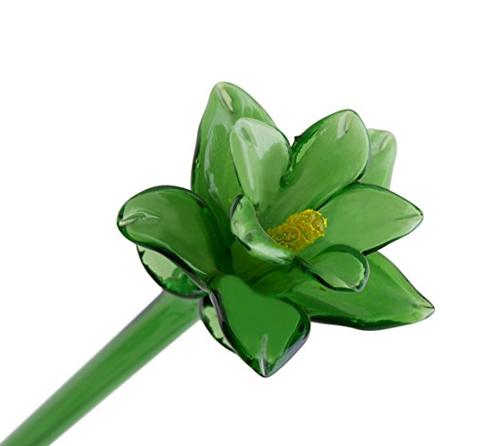 "Handmade Glass Flower - Green Tiger Lily - 20"" Tall - FREE Shipping to lower 48 on all orders over $35"
