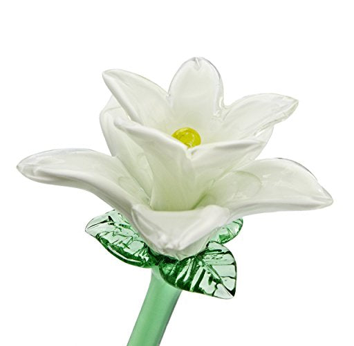 "Handmade Glass Flower - White Tiger Lily - 20"" Tall - FREE Shipping to lower 48 on all orders over $35"