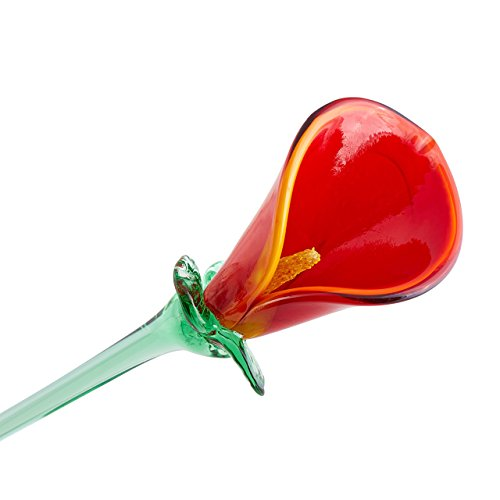 "Handmade Glass Flower - Red Calla Lily - 20"" Tall - FREE Shipping to lower 48 on all orders over $35"