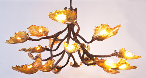 Hand Blown Chandeliers - Custom Fabrications in Iron