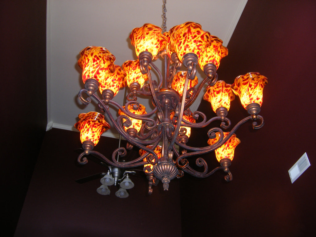Hand Blown Glass Chandelier - Knox Brocade Beauty