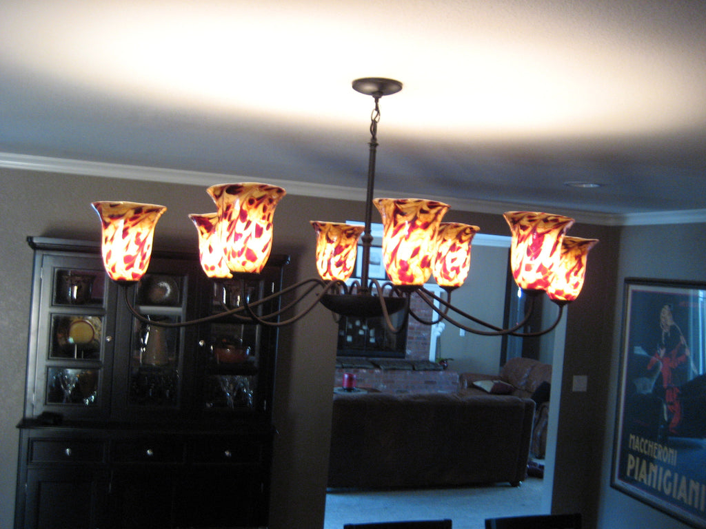 Hand Blown Glass Chandelier - Tobacco Jack Brocade