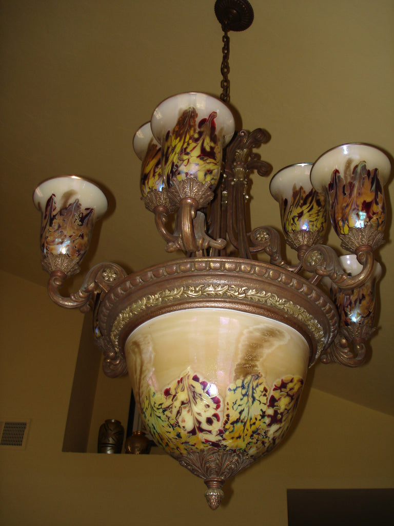 Hand Blown Glass Chandelier - 3 tiered Light Beige Jack
