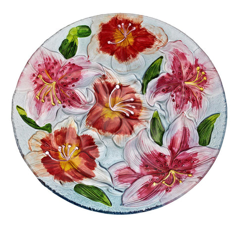 Red Star Lilies Glass Platter