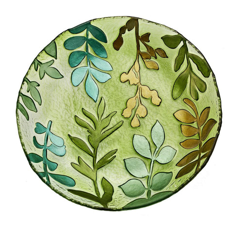 "Hand Painted Glass Bowl 15"" Climbing Leaves"