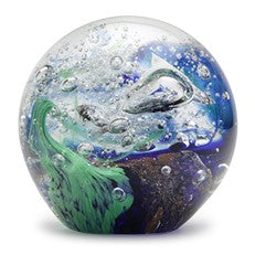 "Glass Handmade Small Paperweight - Blue Green Wave - 2"" tall. One-of-a-kind. FREE SHIPPING to the lower 48 when you spend over $35.00"
