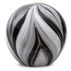 "Glass Handmade Large Paperweight - Feathers Black and White Glow - 4"" tall. One-of-a-kind. FREE SHIPPING to the lower 48 when you spend over $35.00"