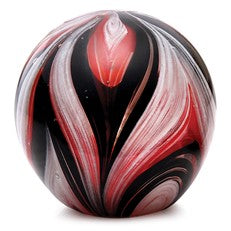 "Glass Handmade Large Paperweight - Feathers Black and Red Glow - 4"" tall. One-of-a-kind. FREE SHIPPING to the lower 48 when you spend over $35.00"