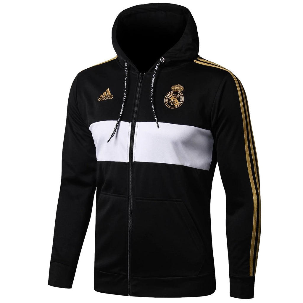 Real Madrid 19/20 Black Full Zip Hoodie Jacket Jacket TNT Soccer Shop
