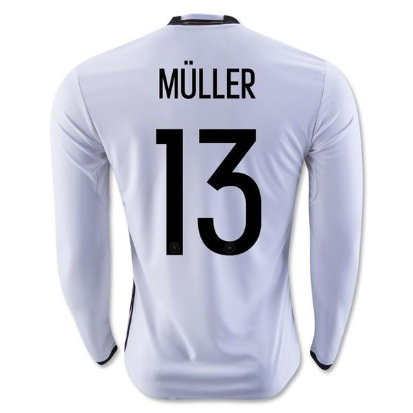 Germany 2016 Home LS Jersey Müller #13 Long Sleeve Jersey TNT Soccer Shop