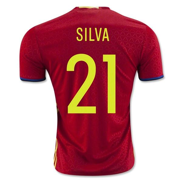 Spain 2016 Home Jersey Silva #21 Full Kit-  READY TO SHIP! - IN STOCK NOW - TNT Soccer Shop