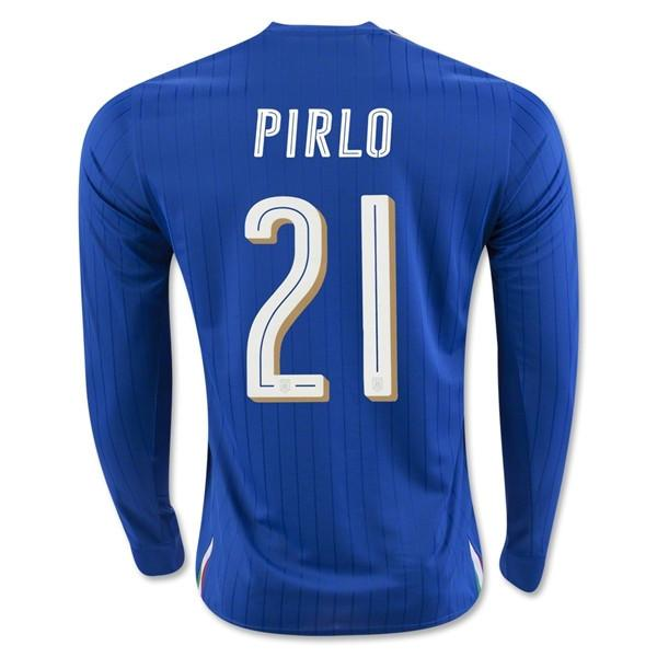 Italy 2016 Home LS Jersey Pirlo #21 Long Sleeve Jersey TNT Soccer Shop