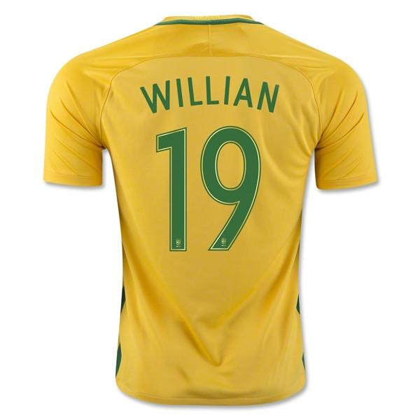 Brazil 2016 Home Jersey Willian #19 Jersey TNT Soccer Shop