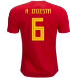 Spain 2018 Home Jersey Andres Iniesta #6 Jersey TNT Soccer Shop