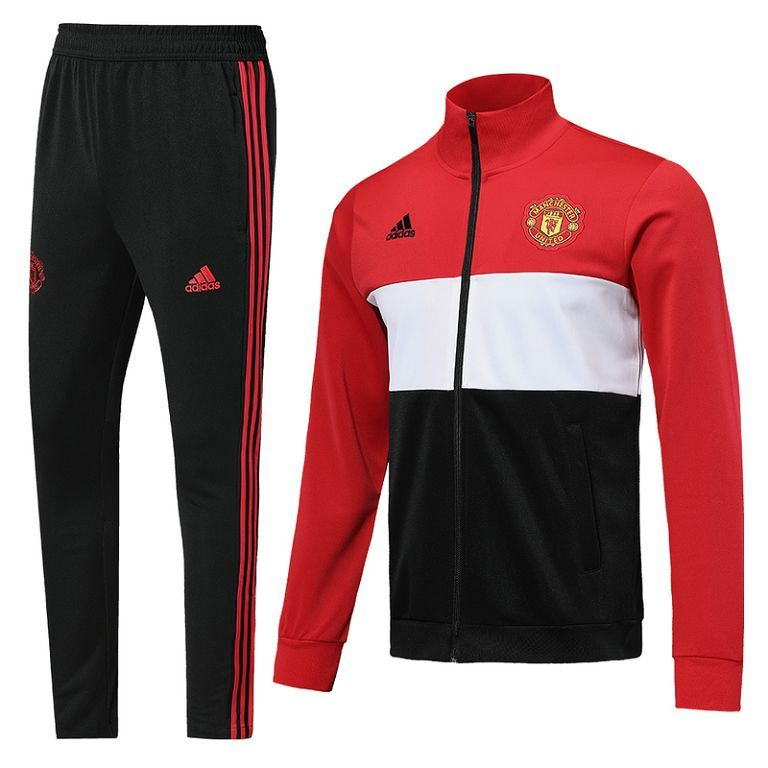 Manchester United 19/20 Red 3 Stripe Track Jacket Jacket TNT Soccer Shop S with Training Pants