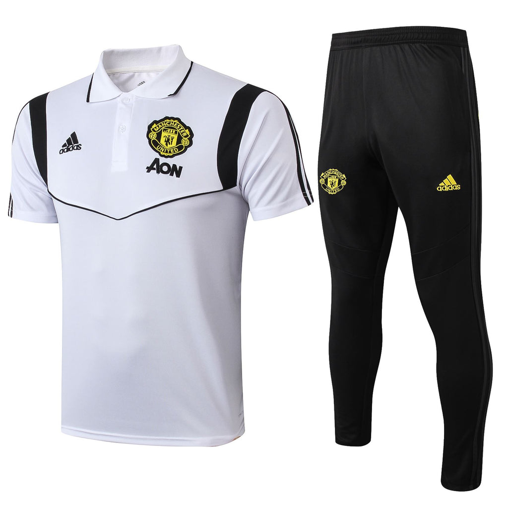 Manchester United 19/20 White Presentation Polo Polo TNT Soccer Shop S with Training Pants