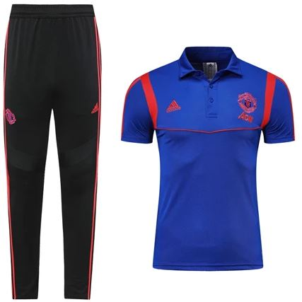 Manchester United 19/20 Blue Presentation Polo Polo TNT Soccer Shop S with Training Pants