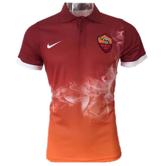 AS Roma 17 18 Orange Polo - IN STOCK NOW - TNT Soccer Shop de87759f0