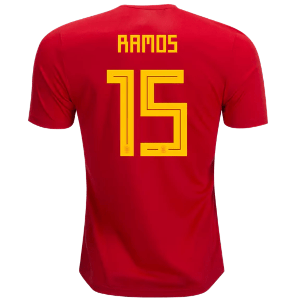 Spain 2018 Home Jersey Sergio Ramos  15 - IN STOCK NOW - TNT Soccer Shop 5e02fd2d6