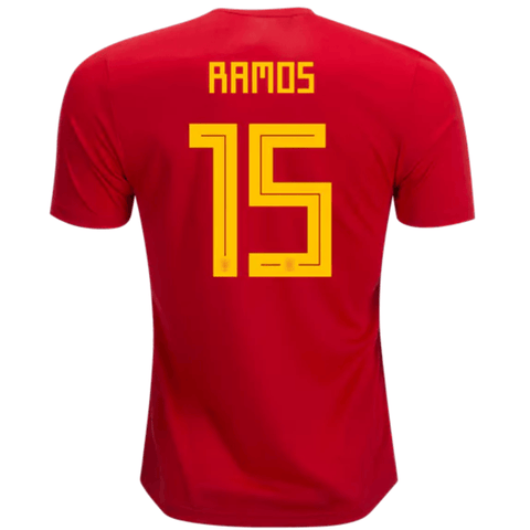huge selection of 90f39 25d16 Spain 2018 Home Jersey Sergio Ramos #15