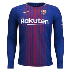 Barcelona 17/18 Home LS Jersey Ready to Ship! Long Sleeve Jersey TNT Soccer Shop
