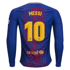 Barcelona 17/18 Home LS Jersey Messi #10 Ready to Ship! Long Sleeve Jersey TNT Soccer Shop