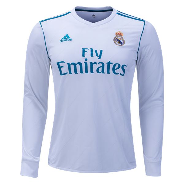 Real Madrid 17/18 Home LS Jersey Personalized Long Sleeve Jersey TNT Soccer Shop