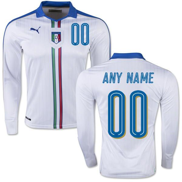 low priced 2e849 88a47 Italy 2016 Away LS Jersey Personalized