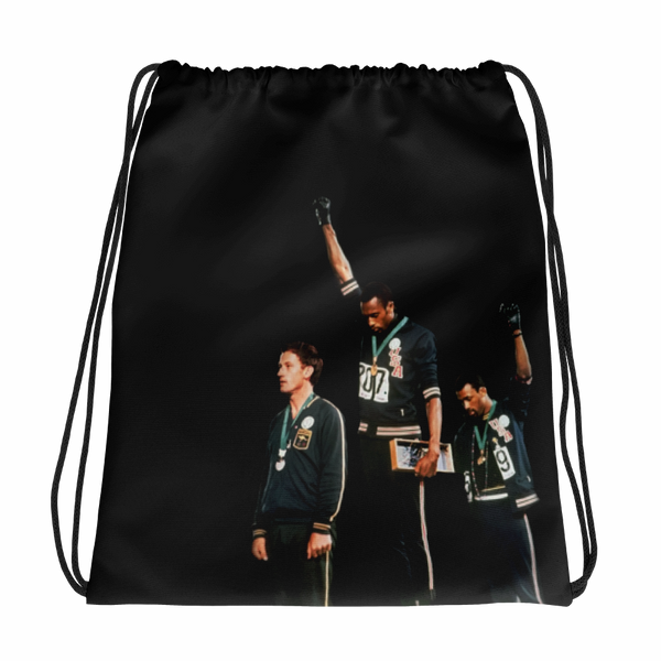 Black Power Olympics Drawstring Backpack