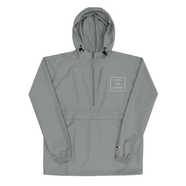 Fuck the System Embroidered Champion Pullover Jacket