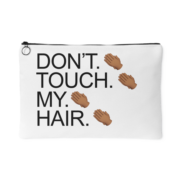 Don't. Touch. Canvas Pouch in White