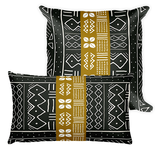 Color Block Mudcloth Print Throw Pillow
