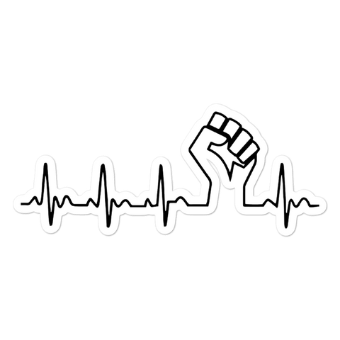Black Power Fist Heartbeat Sticker