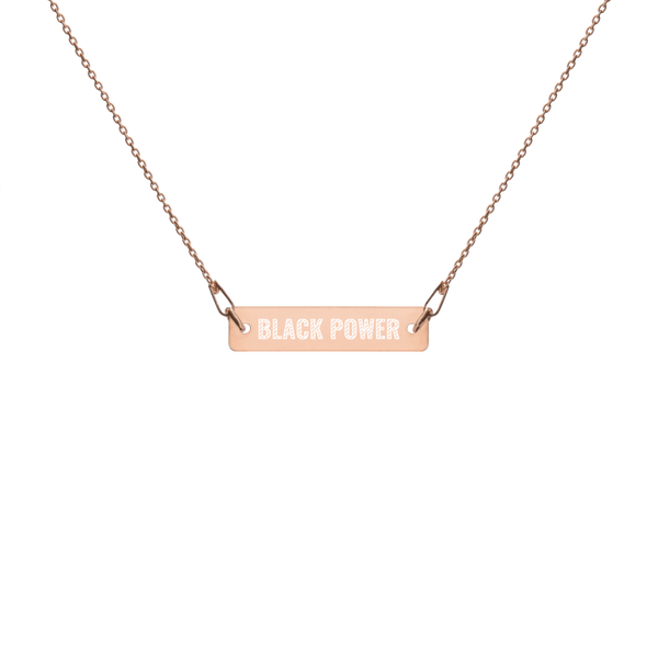 Black Power Engraved Bar Necklace