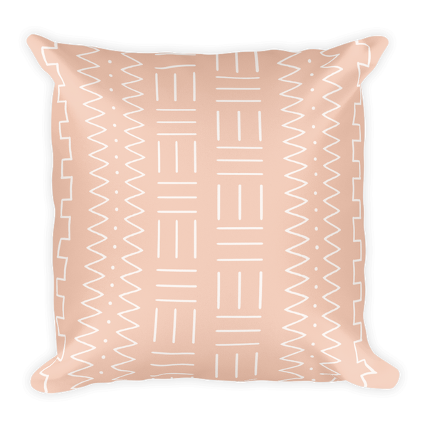 Pink Mudcloth Print Throw Pillow