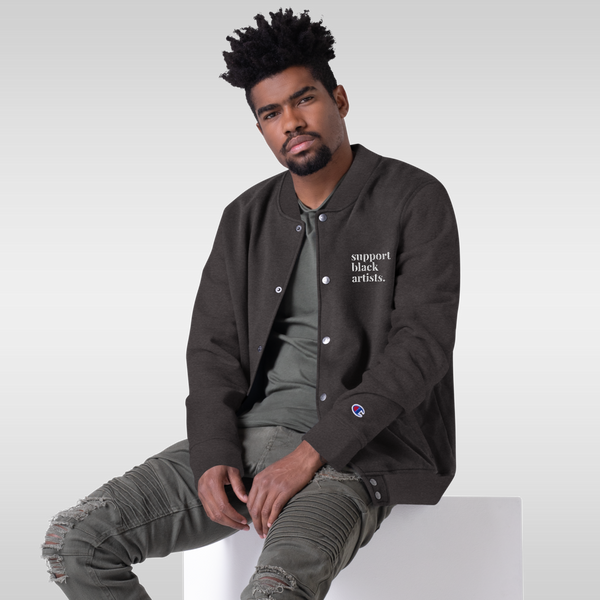 Support Black Artists Embroidered Champion Bomber Jacket