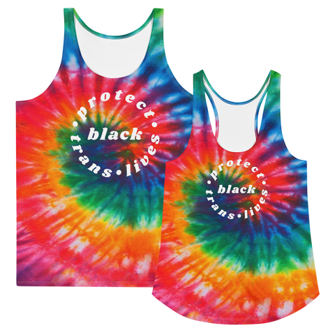 Protect Trans Lives Tie Dye Tank Top (round)