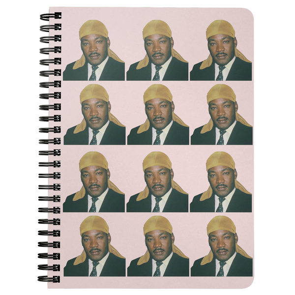 Durag MLK Spiral Notebook in Pink