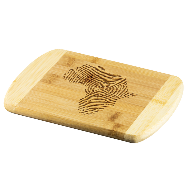 Africa Fingerprint Round Edge Wood Cutting Board