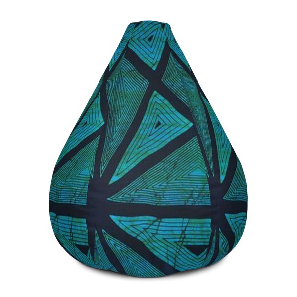 Teal East African Textile Print Bean Bag Chair