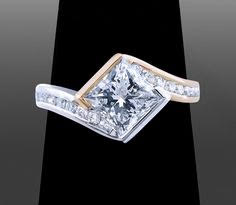 10k two-tone 10mm princess solitaire