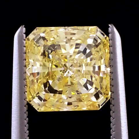 New 1-5 ct Fancy Yellow Radiant Square Cut Lannyte Lab Created Diamond Internally Flawless