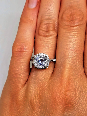 GIA certified 1.42 tcw Cushion Halo Diamond Engagement Ring 14k wg